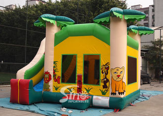 Custom made outdoor tropical inflatable combo castle with slide made of lead free pvc tarpaulin