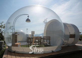 Outdoor 5m Clear Top Resort Inflatable Bubble Camping Tent With Steel Frame Capsule Tunnel For Glamping